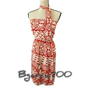 Orange & White Midi Geometric Print Dress